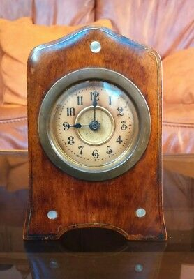 Vintage Wooden Case Small Mantle Clock For Spares/repairs.12.5 cm High.