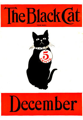 The black cat Le chat noir décembre december Repro affiche ancienne début XXe s