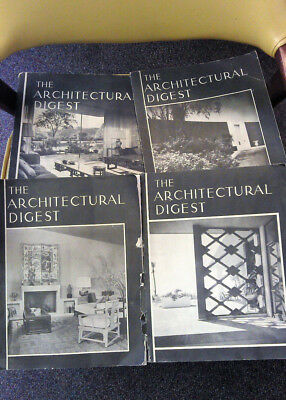 Lot of 4 Vintage THE ARCHITECTURAL DIGEST Circa 1957 MCM Modern Magazine