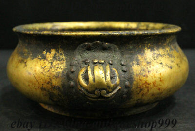 Ancient Chinese Dynasty Palace Bronze Gold Lion Beast Head Incense Burner Censer