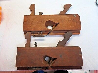 2 ANTIQUE WOODWORKING TOOLS WOODEN MOLDING PLANE RABBET TYPE singed