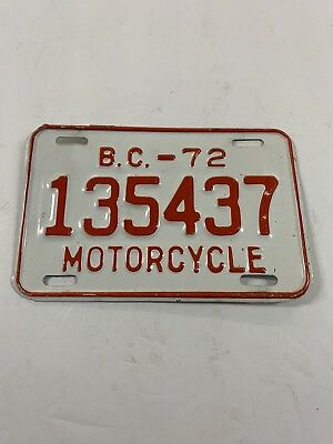 1972 British Columbia Motorcycle License Plate  Canadian Motorcycle Tag Man Cave