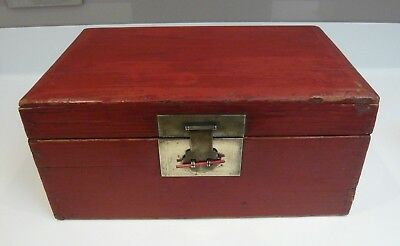 Sturdy Vintage Oriental Red Stained Wooden Chest / Box with Brass Latch