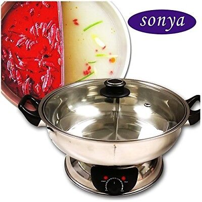 Hot Pot Electric Mongolian with Divider Stainless Steel Fast Heat 1500W 5 Liter