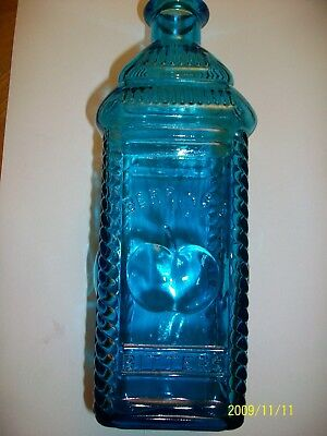 Vintage Wheaton Glass NJ Blue Glass Berrings Apple Bitters Phila Tall Bottle ...