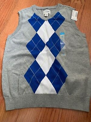 CHILDRENS PLACE Boys L Large 10 / 12 Argyle Diamond VEST Cotton.