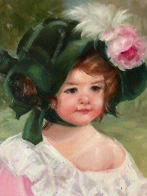 Barnes Oil Painting Vintage Antique Style Portrait Cherub Girl Green Bonnet
