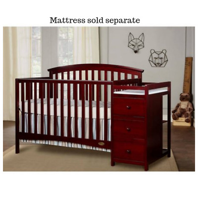 Convertible Crib Side Changer Nursery Furniture Baby Toddler Bed 5 In 1