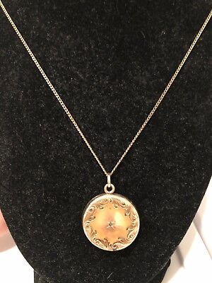 Antique Victorian Gold Filled Ornate Round Locket Pendant 1""