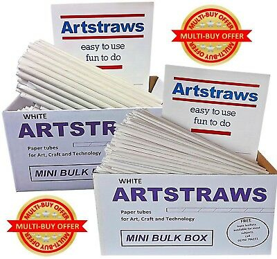 Artstraws White Paper Straws Twin Pack Craft Modelling 4mm 6mm Art Straws