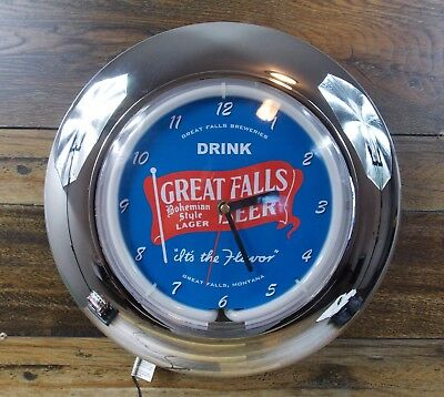 Great Falls Bohemian Style Lager Color Changing Neon Beer Clock Great Falls Mt
