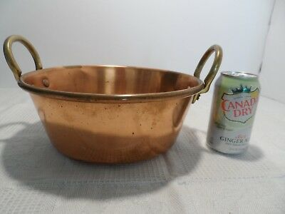 "Vtg Solid Copper Jam Pan Pot 11"" Brass Handles Heavy"