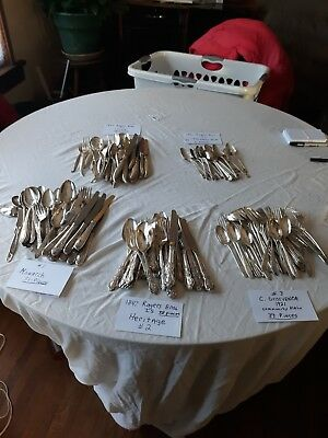 Vintage Lot Of 197 Pieces Of 5 Misc. Sets Of Silverplate Flatware-read More...