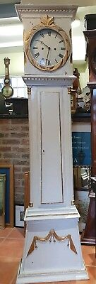 Antique Continental White Wooden 8 Day Long Case Clock. Delivery Arranged