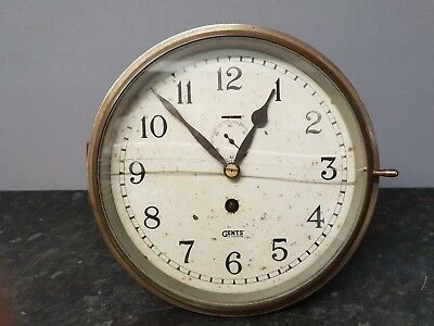 Gents Bulkhead Clock with Jewelled Lever Platform Escapement in Brass Case