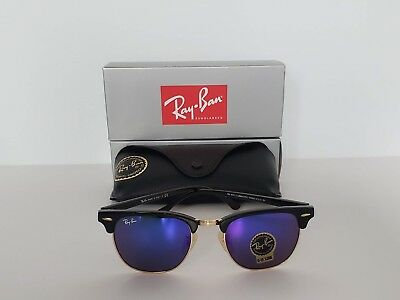 902408e17f Ray Ban RB3016 Clubmaster Sunglasses 51 MM Black Gold Frame Brand New With  Box