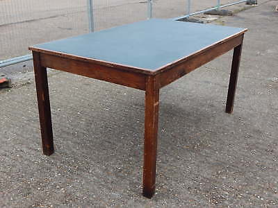Vintage mid century oak industrial work table desk with protective top surface