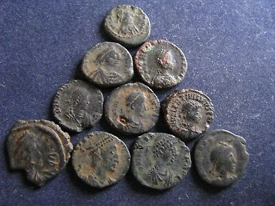 10 Genuine Ancient Roman Bronze Coins,Unresearched,All Have Some Great Detail