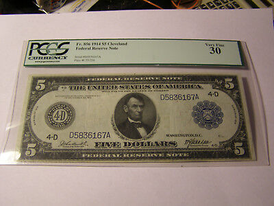 FR 856 1914 $5 Federal Recerve Note PCGS Very Fine 30