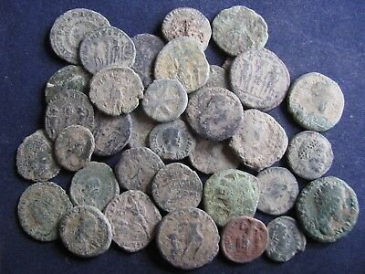 35 Genuine Ancient Roman Bronze Coins,Unresearched,Uncleaned,Some Great Detail