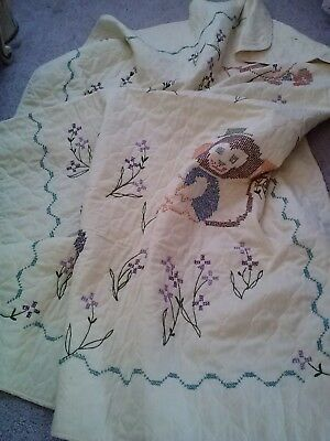 Vintage Hand Made Cross Stitched Embroidery Baby Quilt Blanket-42X59-Adorable