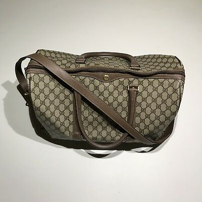 b1959c33395 Gucci Monogram Gg Canvas Beige Brown Travel Duffle Holdall Bag Authentic.