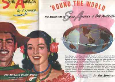PAN AMERICAN WORLD AIRWAYS EARLY 1950s SOUTH AMERICA BY CLIPPER AIRLINE BROCHURE