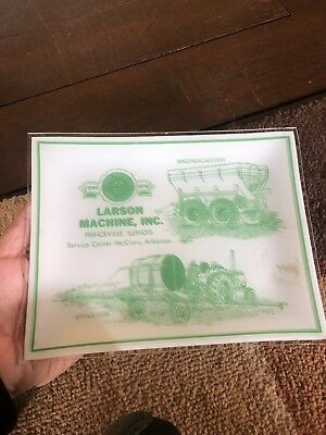 Vintage Larson Farm Equipment Plaque John Deere Tractor 1979