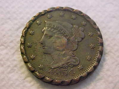 1854  Braided Hair   Large  Cent Vf - Xf Edge Tooled Like A Braid Very Cool Coin
