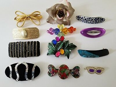 Lot Vintage Hair Barrettes 12 Clip 80s 2 are made in France Variety Pins