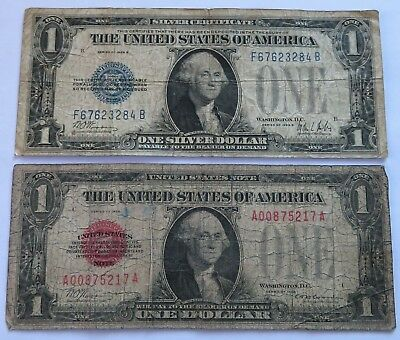 1928 + 1928 B $1 Silver Certificate + US Note, Blue + Red Seals notes (191209D)