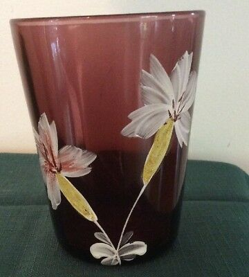 Victorian AMETHYST Purple Glass IRIS Hand Painted  Tumbler