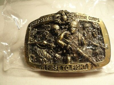 Vintage 1982 The Great American Belt Buckle United State Marine First To Fight
