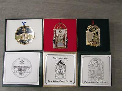 3 US Secret Service Christmas Ornaments 1997 1997 1998 In Box With Papers