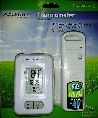 Acurite Wireless Indoor/Outdoor Thermometer with Clock :Brand New: Fast shipping