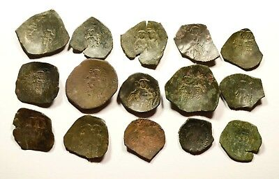 Lot Of 15 Ancient Byzantine Cup Coins - 045
