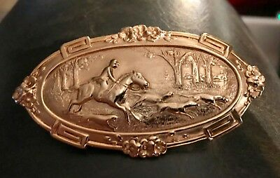 Vintage Fox Hunt Brooch. Horse and Hounds Pin Brooch