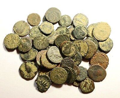 Lot Of 50 Imperial Roman Bronze Coins For Identifying - 01