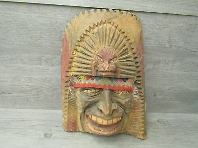 """Hand Carved Vintage Wood Tribal Mask Wall Hanging 12.5""""T"""
