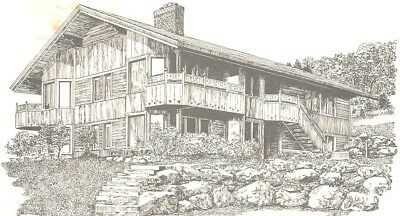 Trapp Family Lodge Guest House, Stowe, VT~ artist signed B&W Postcard unposted