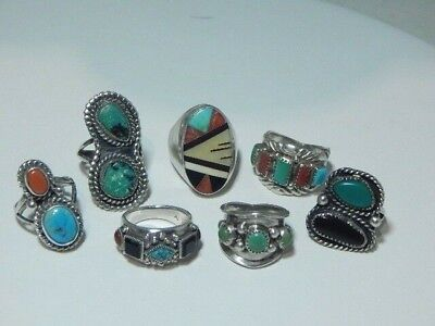 7 Piece Vintage Native American Sterling Silver Turquoise Coral Ring Lot~66.7 g