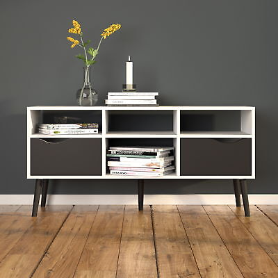 OSLO Large TV Stand with Drawers Modern Retro Style white/black Living Room
