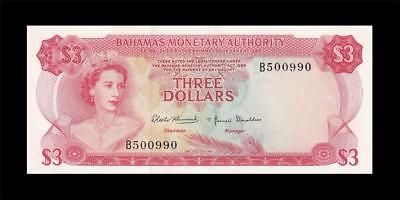 1968 BRITISH COLONY BAHAMAS 3 DOLLARS QEII $3 (( aUNC/UNC ))