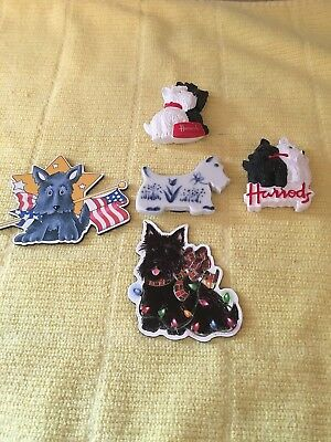 5 Scottie Scotty Dog Magnets Harrods and Mary Englebreit and Russ