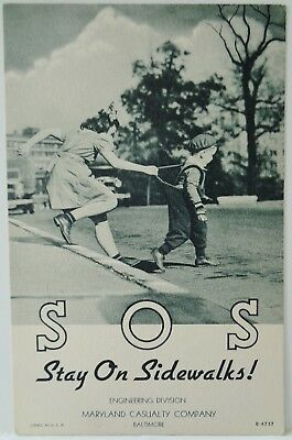 SOS / Stay On Sidewalks / Maryland Casualty Co. / Linen Advertising Postcard