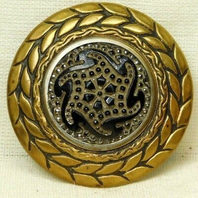 LARGE Antique Vintage VICTORIAN Button Molded Black Glass in ORNATE  Brass *D43