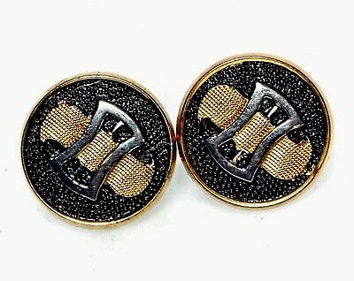 PERFECT Pair Antique Vtg FRENCH Glass Buttons VICTORIAN Deco Belt Buckles *A10