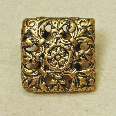 Antique Vintage VICTORIAN Charmstring Button SQUARE Brass Cricket Cage D58 14