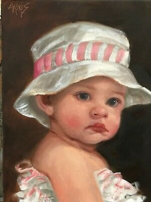 Barnes Oil Painting Vintage Antique Style Portrait Cherub Angel Girl Hat & Lace