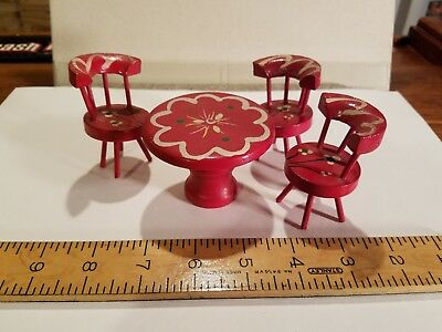 Vintage Miniature Wood Table and Three Chairs Doll House Furniture
